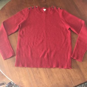 J.Crew red lambswool sweater w/ buttons